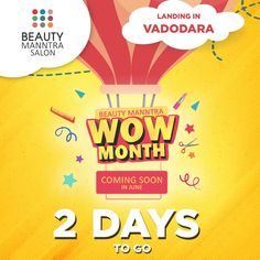 It's coming closer and we cant hold our excitement! Just 2 days to go. Can you guess the offer?😉 Stay tuned to us and know the offer before anyone in Vadodara. Can't Hold Us, It's Coming, Spa Services, Manicure And Pedicure, Bridal Makeup, Stay Tuned, Closer, Salons, Lashes