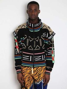 Bernhard Willhelm Men's Who's BW Hey Hooded Sweat in black / multi at oki-ni African Inspired Fashion, African Men Fashion, Mens Fashion, African Clothing For Men, Tribal Clothing, High Fashion Makeup, Muscle T Shirts, Mens Trends, Creation Couture