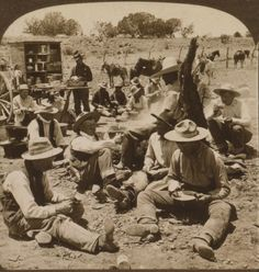"""Cowboys at dinner /Scene at Noon Hour in a Typical Cowboy Camp of the """"Wild and Wooly West"""" Arizona 1907"""
