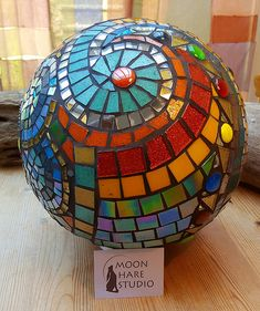 handmade mosaic gazing garden ball by Adela Webb of Moon Hare Studio | by moonhare1