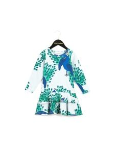 Peacock aop frill dress - Mini Rodini