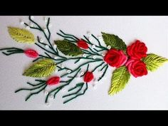 ВЫШИВКА: РОЗЫ РОКОКО  \   EMBROIDERY: ROSES ROCOCO Bullion stitch - YouTube