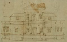 A sketch of the elevation of the first Monticello,1769-1770 by Thomas Jefferson. Ink on paper.