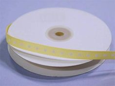 """3/8"""" Grosgrain Polka Dot -Yellow / Such a hip unison of two most popular and favorite styles; Peppy Polka Dots and Gorgeous Grosgrain! Grosgrain ribbon is one of the most preferred and demanded ribbons for decorations, embellishments, crafting, and accenting purposes. Premium quality nylon, cotton, and synthetic fabric materials are used to craft this plain weave corded fabric with a textured appearance and a sturdy look. Now, with added elegance and classiness of polka dots accent, this… Organza Ribbon, Grosgrain Ribbon, White Spandex, Ribbon Decorations, Pew Bows, Backdrops For Parties, Gift Packaging, Fabric Material"""