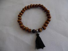 Bracelet homme tibétain, mala de 27 perles en bois marron. : Bijoux pour hommes par crea-039-martine