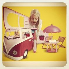 I want this!!!!!!!  Vw Barbie bus