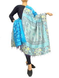 Reversible Kantha Dupatta in Cotton Silk-Turquoise/Grey