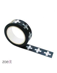 Rol masking tape zwart met grote witte plus, 10 meter lang en 1,5 cm breed.