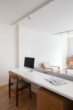 Carnide Apartment is a minimalist apartment located in Lisbon, Portugal, designed by Lola Cwikowski Joinery Details, Minimal Kitchen, Neutral Walls, Apartment Renovation, Minimalist Apartment, Mid Century Chair, Bespoke Furniture, Floating Shelves, Interiors