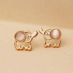 Pair Of Delicate Elegant Rhinestone and Opal Design Elephant Shape Stud Earrings For Women