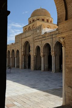 Tunisia-Kairouan-Zitouna Mosque-the main building of the Mosque viewed from the Colonnade