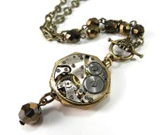 Steampunk Wedding Necklace SPUN GOLD and by CompassRoseDesign