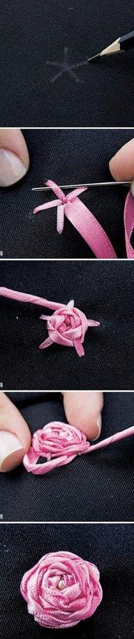 """Making ribbon rosettes from 1/8"""" ribbon."""