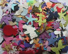200+ ASSORTED die cut MULBERRY PAPER card / scrapbook TOPPERS crafty cow BARGAIN