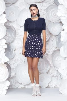 front_navy Long Hallway, Work Wardrobe, All White, New Work, Mini Skirts, Cute, Clothes, Dresses, Navy