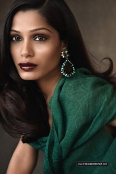 Frieda Pinto in Lanvin Spring 2009...beautiful photo...she looks fabulous in green....makeup shades are just right
