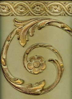 simple when compared to other acanthus scroll images, but so classic and elegant. Grisaille, Carving Designs, Gold Work, Stencils, Wood Paneling, Painting Techniques, Painted Furniture, Architecture, Antiques