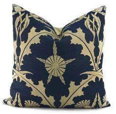 Throw Pillow Cover Navy & Beige Woven Linen by ThePillowSpot