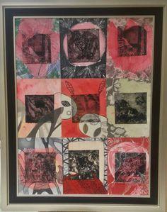Colografia sobre tela intervenida a mano. XXVIII Bienal de Arte Republica Dominicana.