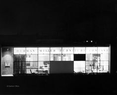 Herman Miller Showroom Designed by Charles and Ray Eames in 1950.  Coinciding with the introduction of the Eames Wire Chair, the Office redesigned the Herman Miller Los Angeles showroom to include the new Eames collection, new furniture from George Nelson, and fabrics by designer Alexander Girard.
