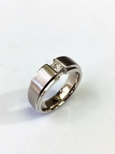 14 K Comfort fit Princess cut  Diamond  Wedding Band by PopularGems on Etsy