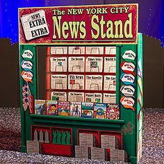The New York Newsstand has the look of a genuine newsstand with the hats, newspapers and magazines in the design.