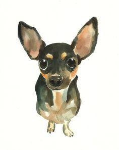 CUSTOM of your PET by DIMDI Original watercolor painting by dimdi, $35.00