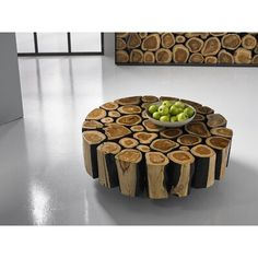 Phillips Collection A cluster of natural wood slices joined together in geometric forms, the Boscage tables are the perfect combination of organic and contemporary. The Boscage tables feature natural Chamcha wood with a charred black edge. Round Wood Coffee Table, Steel Coffee Table, Tree Trunk Coffee Table, Coffee Tables, Wood Resin Table, Wood Table, Phillips Collection, Log Furniture, Rustic Wood Furniture