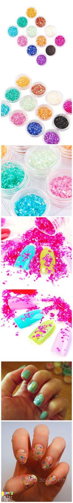 $5.38 12 Colors Crushed Shell Powder Nail Art UV Gel Acrylic - BornPrettyStore.com