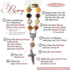 How to pray the rosary using a chaplet or decade rosary. From Little Prayers at… Praying The Rosary Catholic, Rosary Prayer, Holy Rosary, Catholic Prayers, How To Pray Rosary, Catholic Art, Rosary Bracelet, Rosary Beads, Decades Of The Rosary