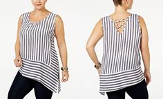 Monteau Trendy Plus Size Striped Asymmetrical Top Trendy Plus Size Clothing, Plus Size Outfits, Fashion Catalogue, Asymmetrical Tops, Beautiful Outfits, Cool Style, Chic, How To Wear, Clothes