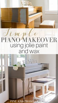 Simple Piano Makeover using Jolie Paint and Wax - Pine and Prospect Home, Diy Abschnitt, Cheap Furniture Makeover, Diy Furniture Renovation, Cute Furniture, Repurposed Furniture, Refinished Furniture, Furniture Design, Painted Furniture, Distressed Furniture, Furniture Ideas