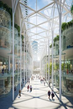 Spanish architect and engineer Santiago Calatrava has unveiled his landmark for London's Greenwich Peninsula – which will have a Cathedral-like winter garden at its heart. Peninsula Place is Calatrava's . Architecture Design, Chinese Architecture, Architecture Office, Futuristic Architecture, Amazing Architecture, Landscape Architecture, Office Buildings, Architecture Colleges, Santiago Calatrava