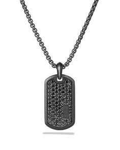 David Yurman Royal Cord Tag with Black Diamonds on Chain