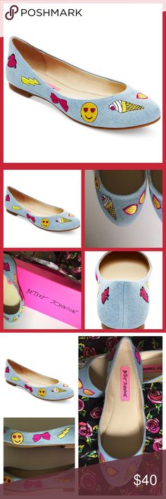 Betsey Johnson Emoji Flat Shoes⚡️ Brand new Betsey Johnson Flat shoes with the original box and pretty tissue paper denim surface with several cute emoji⚡️Sold out everywhere in store~ NWT Betsey Johnson Shoes