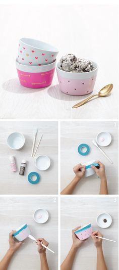 Crafting can't get any sweeter than these hand-painted ice cream bowls using Martha Stewart Crafts from @michaelsstores!