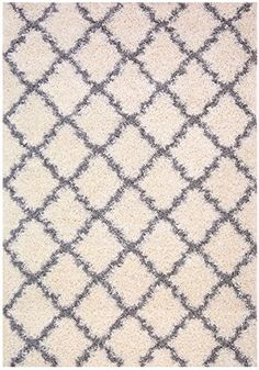 Trellis Ivory (Off-white) Grey Shag Area Rug Rugs Shaggy Collection (Ivory (Off-white), 5'x7'). Shopswell   Shopping smarter together.™
