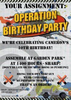 Nerf Party Invitations Invite