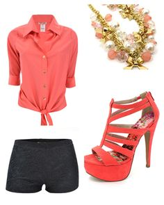 Cute casual coral outfit. All items are from Body Central.