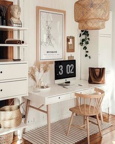 Home Decor Inspiration Clean And Bright Boho Home Office Inspiration Ideas.Home Decor Inspiration Clean And Bright Boho Home Office Inspiration Ideas Home Office Space, Home Office Design, Home Office Decor, Home Design, Office Spaces, Apartment Office, At Home Decor, Office Desks For Home, White Desk Office