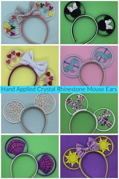 Hand Applied Crystal Rhinestone Printed Mouse Ears & Lizzie In Adventureland Rainbow Balloons, Heart Balloons, Disney Fanatic, Disney Addict, Disney Trips, Disney Shopping, Disney Travel, Online Shopping, Disney Ears
