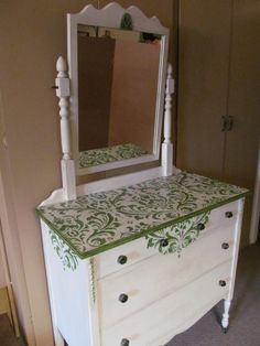 Antique Dresser with Mirror, upcycled with new hardware, and fun green stencil