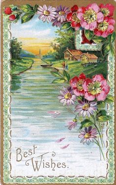 Victorian Era Postcard Images Stream Rowboat and Cottage Best Wishes Greeting Postcard   Queenie's Vintage Finds