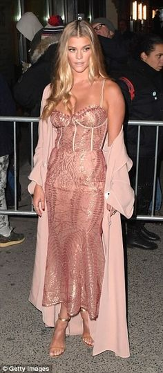 Who made Nina Agdal's gold sandals, pink coat, jewelry, and rose gold lace dress? Dress Skirt, Lace Dress, Nude Gown, Pink Corset, Nina Agdal, Model Street Style, Red Carpet Fashion, Septum, Pink Dress