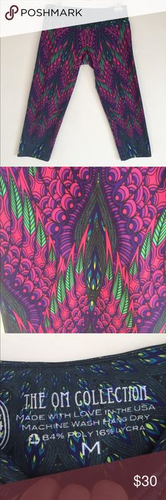 The Phil Lewis Peacock-like Yoga Pants, M These super cute The OM Collection Peacock-like Yoga Pants, M are great for your next yoga session! EXCELLENT CONDITION, NO DEFECTS AND COMES FROM A SMOKE FREE HOME. Phil Lewis Art Om Collection Pants Capris