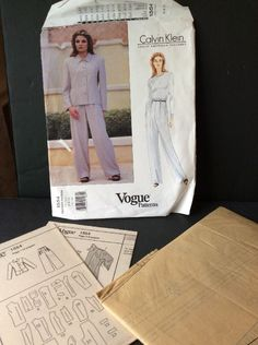 Vogue Sewing Pattern Calvin Klein 1554 Jacket Pants Loose Fit 6 8 10 Uncut  | eBay