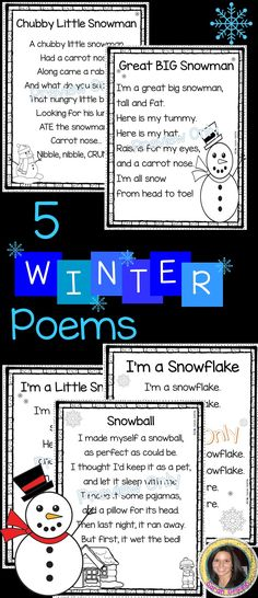 5 Winter Poems for Kids | Great Big Snowman | Snowball | Chubby Little Snowman | I'm a Little Snowman | I'm a Snowflake | Printables | songs for kids | poem of the week | poetry notebook | weather