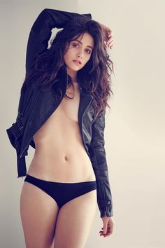 Emma Rossum flat belly pose in an unbuttoned shirt and bikini briefs