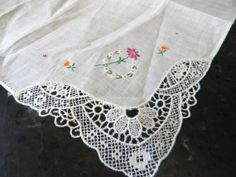 Vintage Wedding hankie handkerchief in white linen by FeliceSereno, $5.00