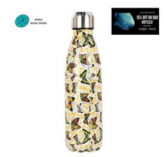 FREE SHIPPING. BPA FREE. NIGHT OR DAY, THIS MARVELOUS MULTICOLORED INSECT ATTRACTS ALL EYES. THIS SPLENDID STAINLESS STEEL WATER BOTTLE BUTTERFLY WILL ACCOMPANY YOU EVERY DAY! Adopting our BPA-free insulated bottle is both enjoying a bottle that keeps your favorite drinks warm or cool, and making an ecological gesture for our Blue Planet. Made with high quality materials, you will be amazed by this bottle. #insulatedbottle #stainlesssteelwaterbottle #metalbottle Butterfly Pattern, Stainless Steel Water Bottle, Warm, Free Shipping, Eyes, Night, Drinks, Blue, Drinking